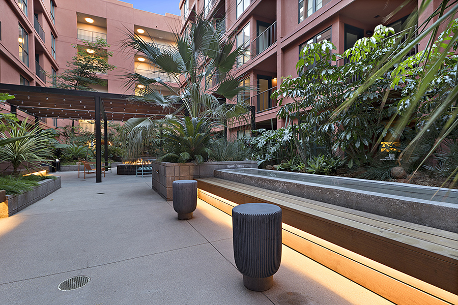 Courtyard with pergola with string lights, long benches, and tall planters with lush landscaping and palm trees.