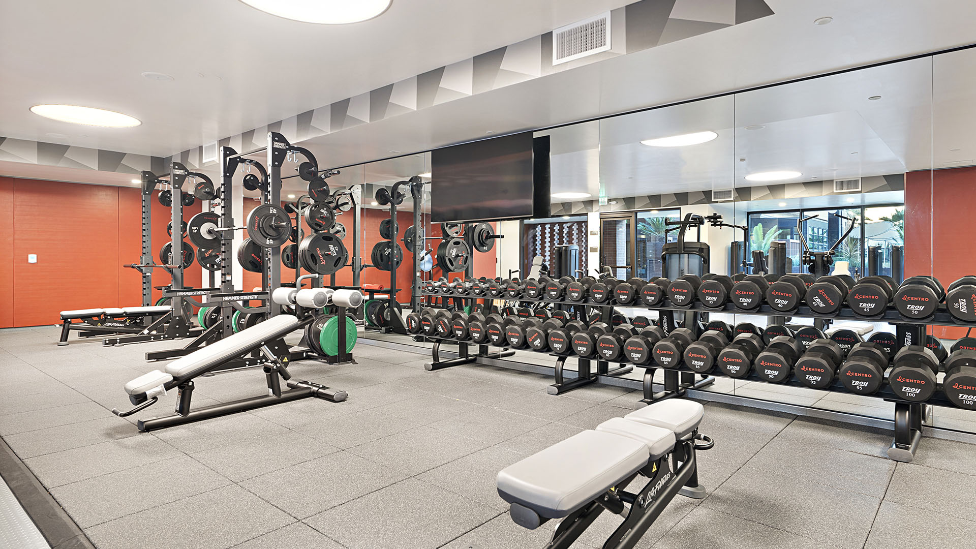 Fitness center with gym floor, mirror wall, benches, and large dumbbell rack.