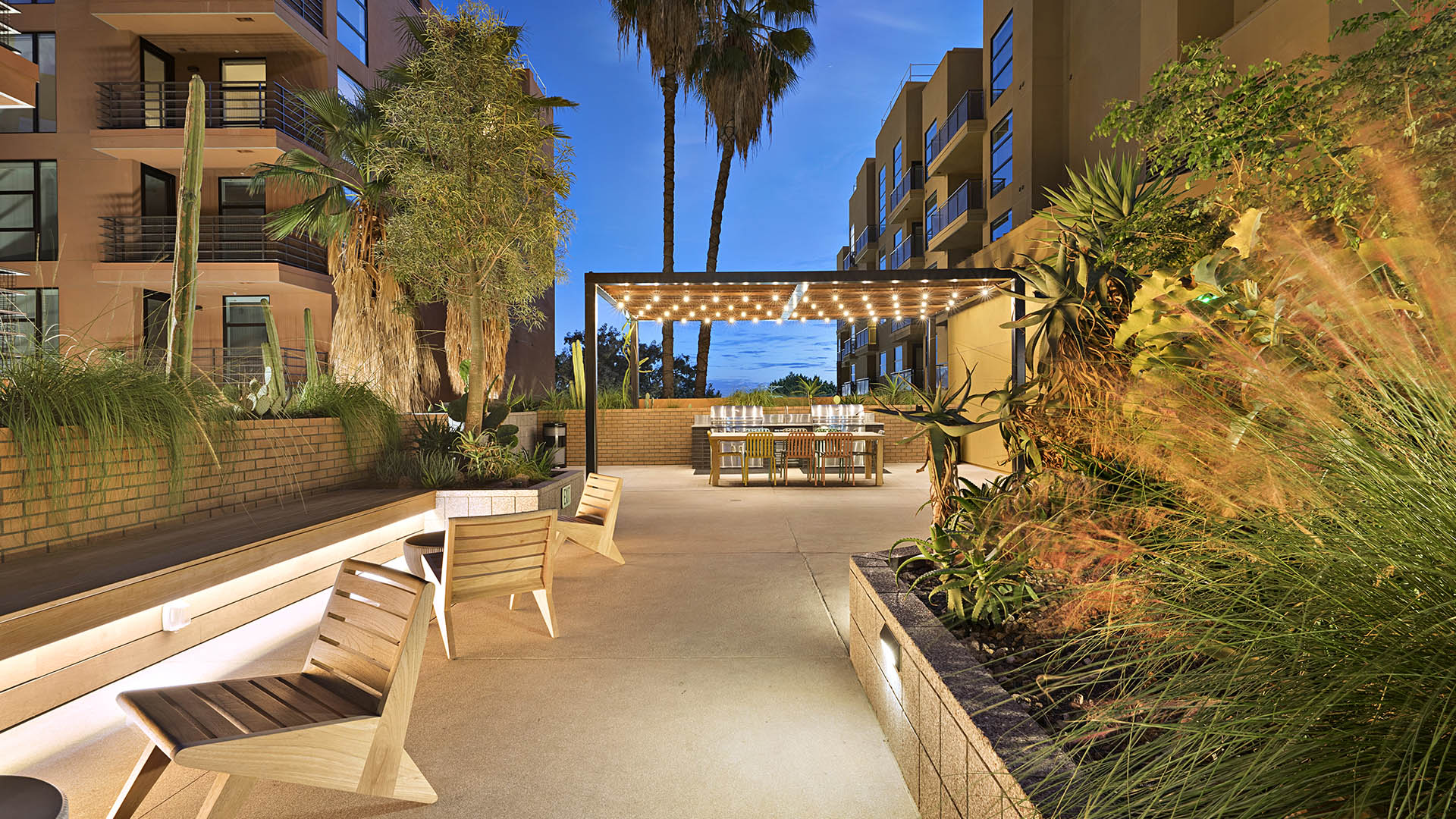 Courtyard at dusk with large planters with lush plants, modern lounge chairs, wood pergola with string lights, and palm trees.