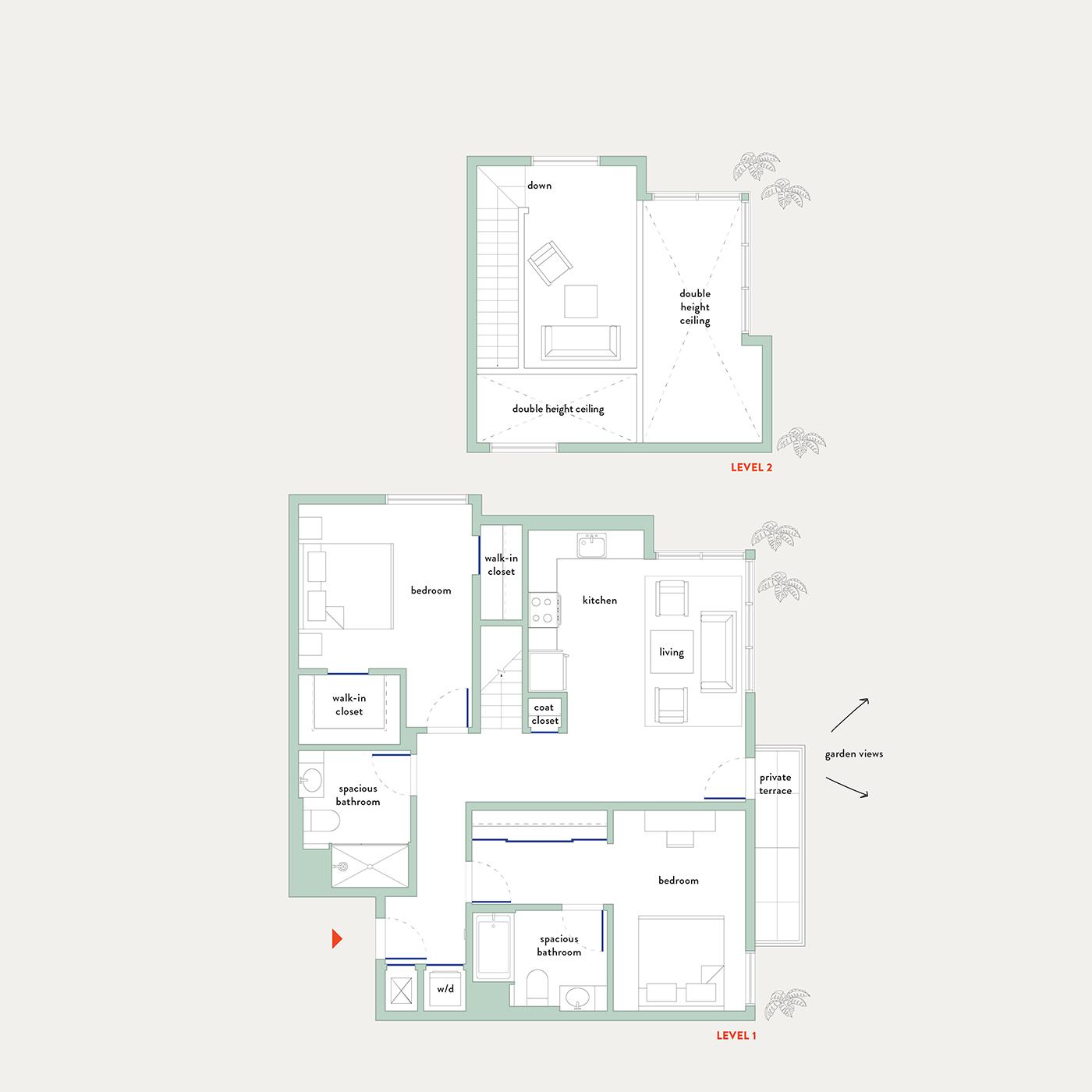 Plan 19 – 2 Bedroom Penthouse